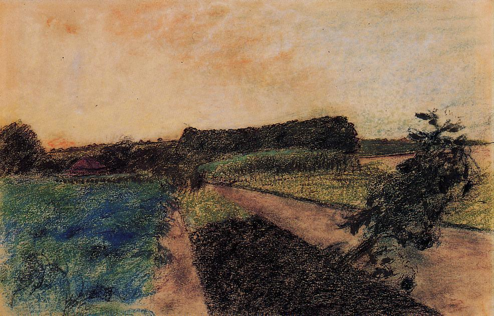 famous painting Landscape on the Orne of Edgar Degas