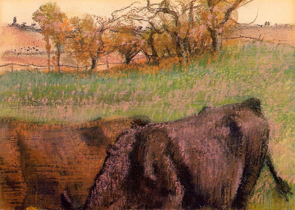 famous painting Landscape. Cows in the Foreground of Edgar Degas