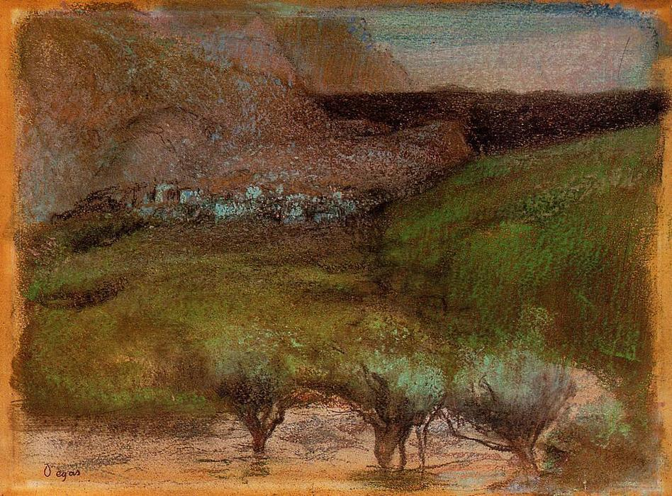 famous painting Olive Trees against a Mountainous Background of Edgar Degas