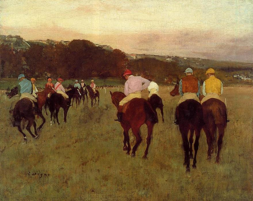 famous painting Racehorses at Longchamp 1 of Edgar Degas
