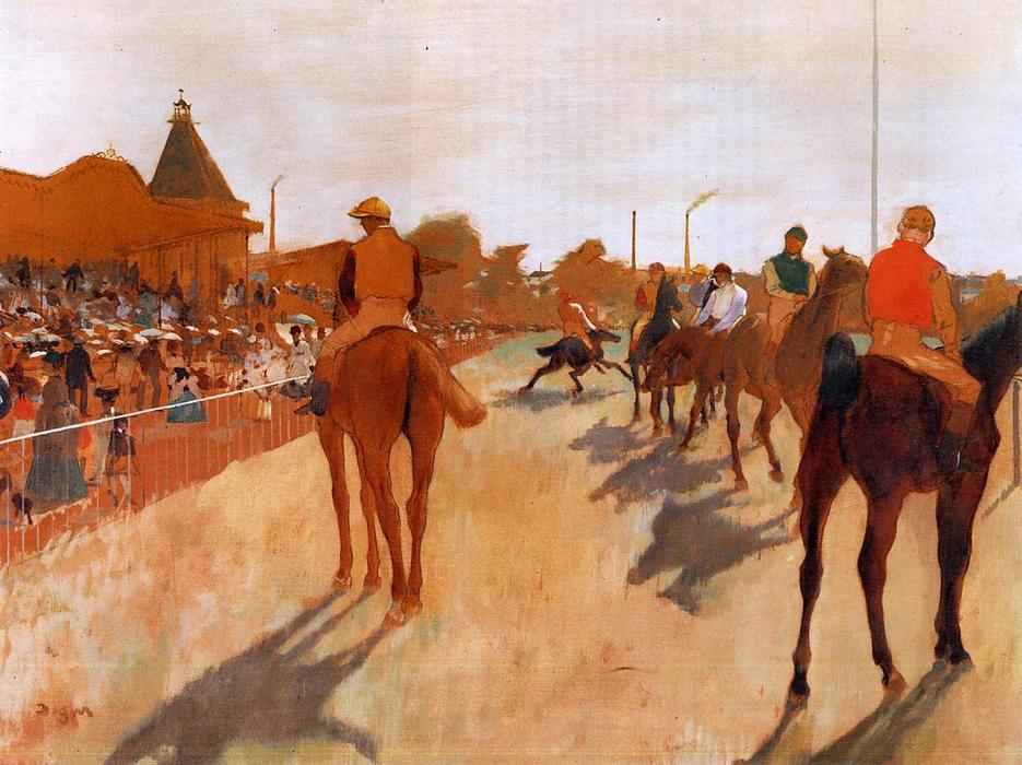 famous painting Racehorses before the Stands of Edgar Degas