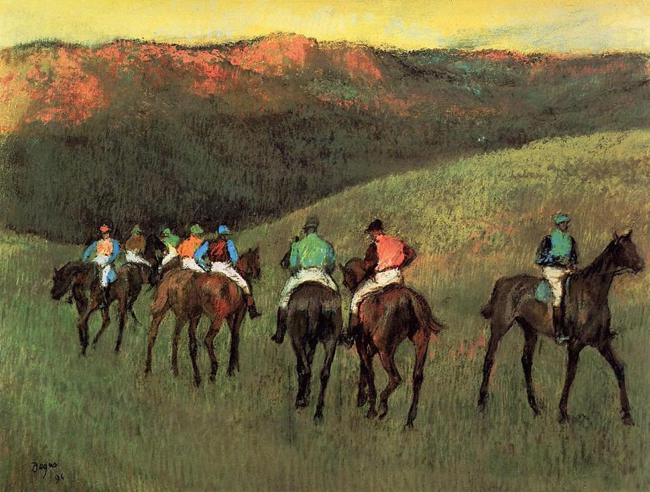 famous painting Racehorses in a Landscape of Edgar Degas