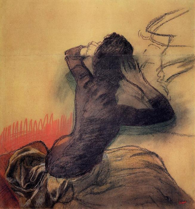 famous painting Seated Woman Adjusting Her Hair of Edgar Degas