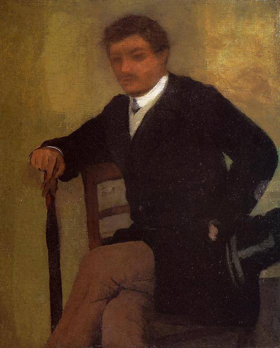 famous painting Seated Young Man in a Jacket with an Umbrella of Edgar Degas