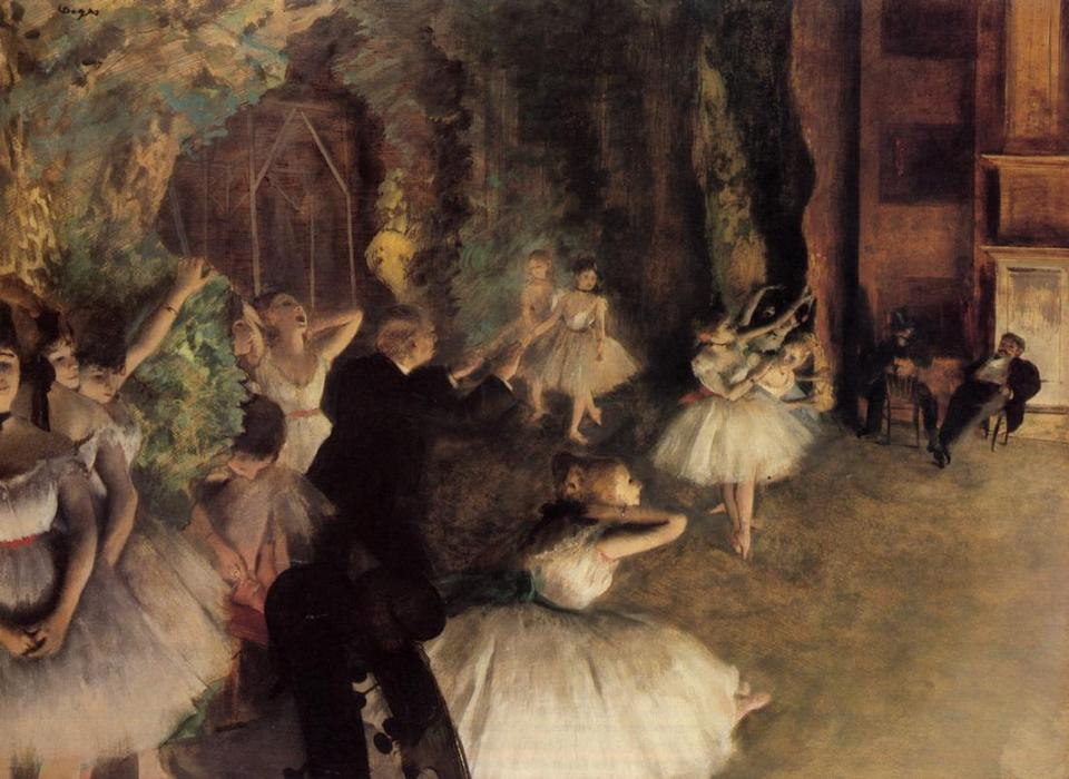 famous painting The Rehearsal of the Ballet on Stage of Edgar Degas