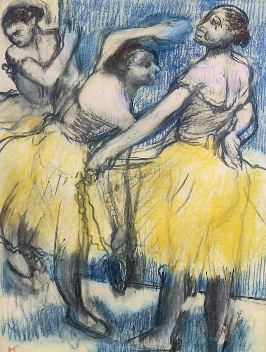 famous painting Three Dancers in Yellow Skirts of Edgar Degas