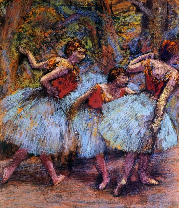 famous painting Three Dancers, Blue Skirts, Red Blouses of Edgar Degas