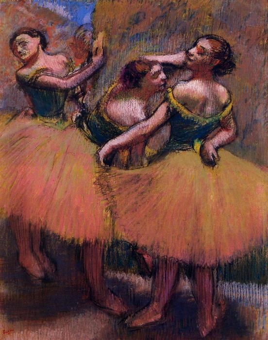 famous painting Three Dancers, Green Blouses of Edgar Degas