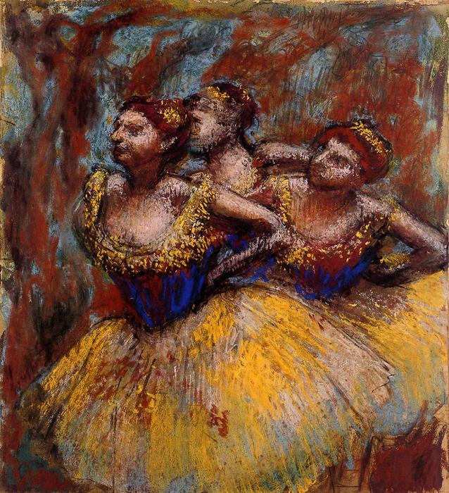famous painting Three Dancers. Yellow Skirts, Blue Blouses of Edgar Degas