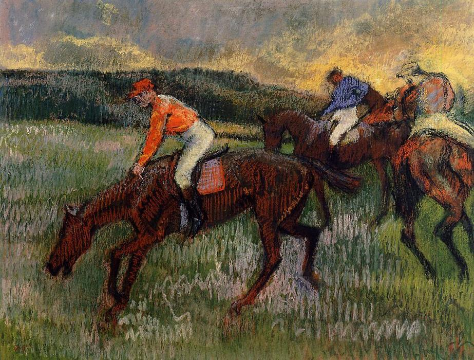 famous painting Three Jockeys of Edgar Degas