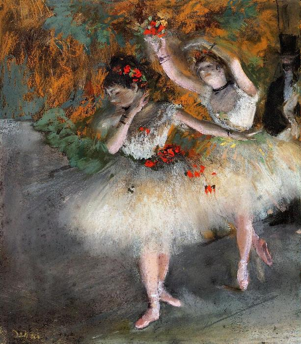 famous painting Two Dancers Entering the Stage of Edgar Degas