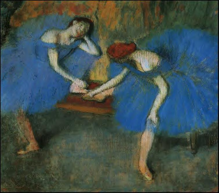 famous painting Two Dancers in Blue of Edgar Degas