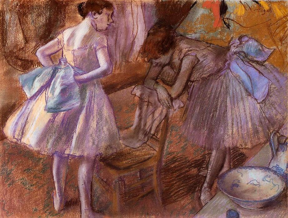 famous painting Two Dancers in Their Dressing Room of Edgar Degas
