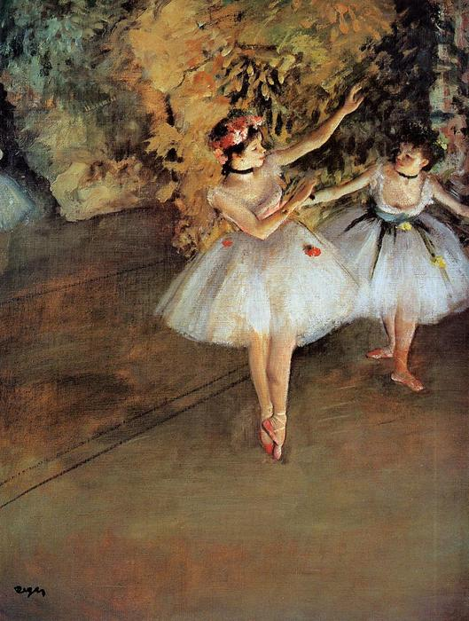 famous painting Two Dancers on Stage of Edgar Degas