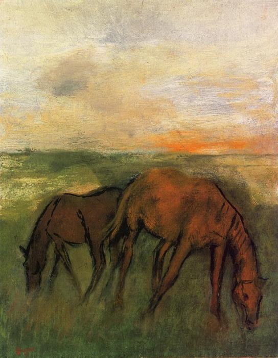 famous painting Two Horses in a Pasture of Edgar Degas