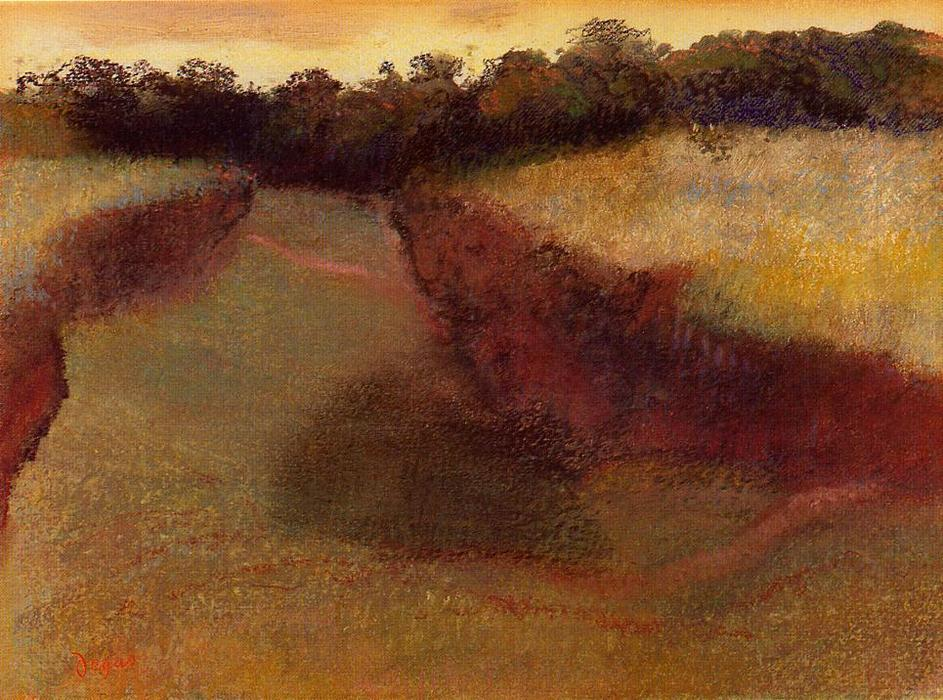 famous painting Wheatfield and Line of Trees of Edgar Degas