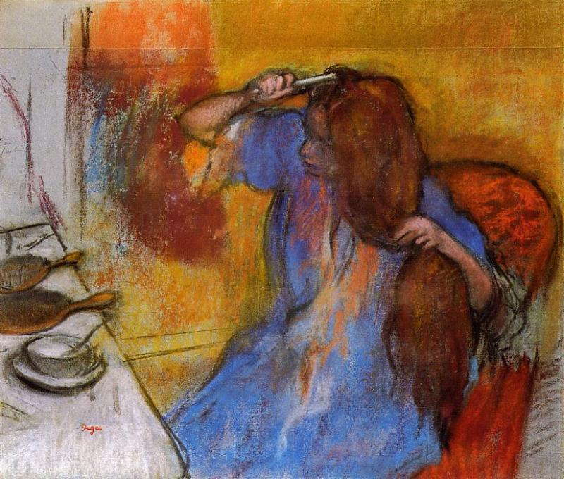 famous painting Woman Brushing Her Hair of Edgar Degas