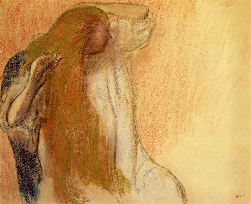 famous painting Woman Combing Her Hair 1 of Edgar Degas