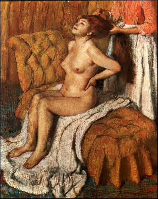 famous painting Woman Having Her Hair Combed of Edgar Degas