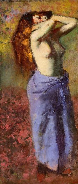 famous painting Woman in a Blue Dressing Gown, Torso Exposed of Edgar Degas