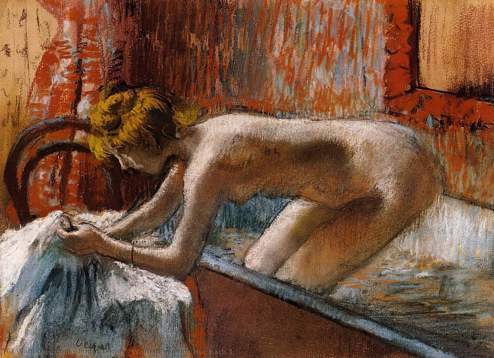 famous painting Woman Leaving Her Bath 1 of Edgar Degas