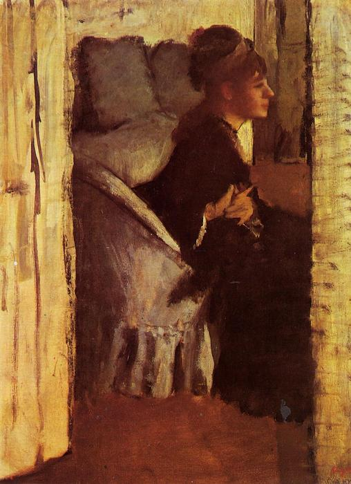 famous painting Woman Putting on her Gloves of Edgar Degas