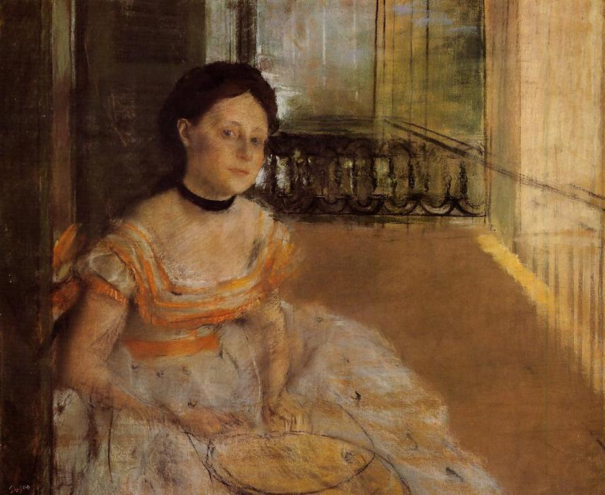 famous painting Woman Seated on a Balcony of Edgar Degas