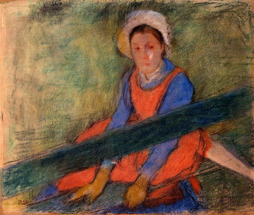 famous painting Woman Seated on a Bench of Edgar Degas