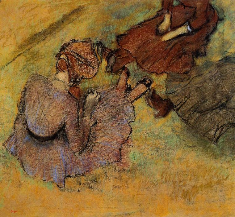famous painting Woman Seated on the Grass of Edgar Degas
