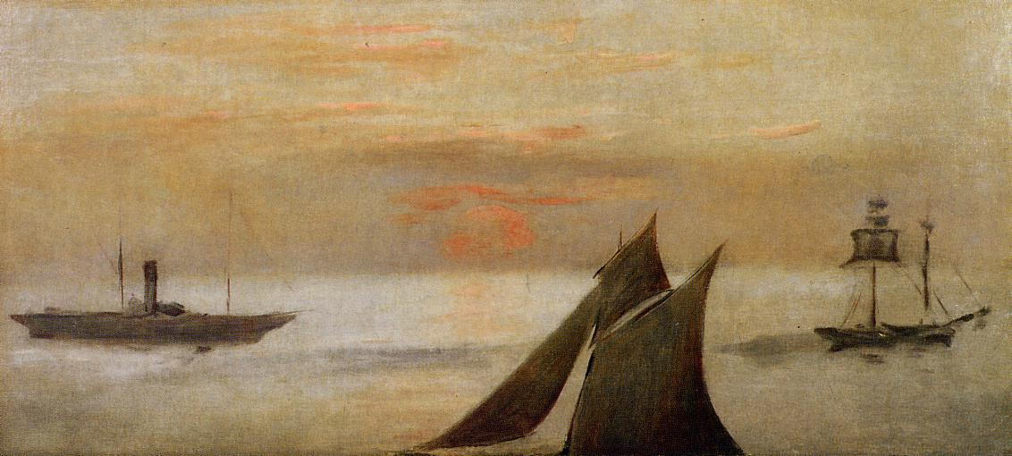 famous painting Boats at Sea, Sunset of Edouard Manet