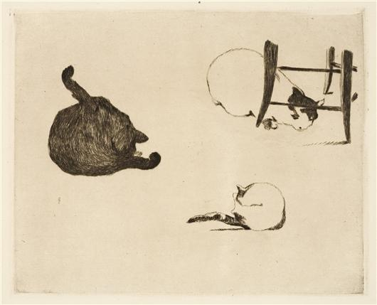 famous painting Les chats of Edouard Manet