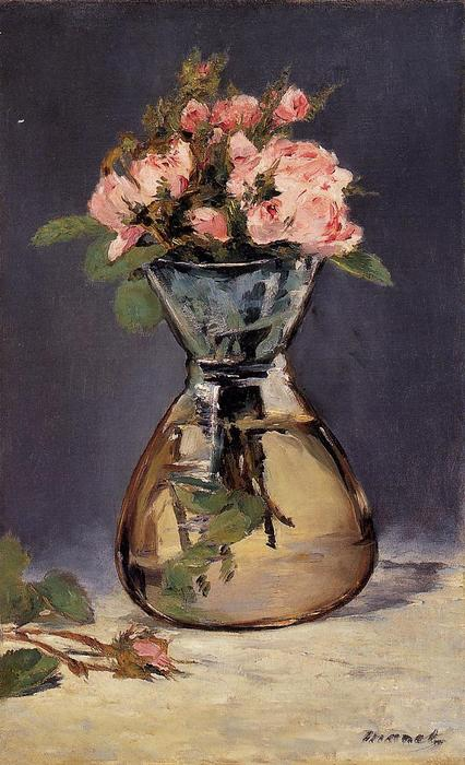 famous painting Mosee Roses in a Vase of Edouard Manet
