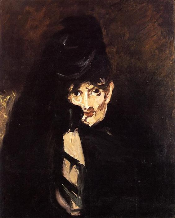 famous painting Portrait of Berthe Morisot with Hat, in Mourning of Edouard Manet