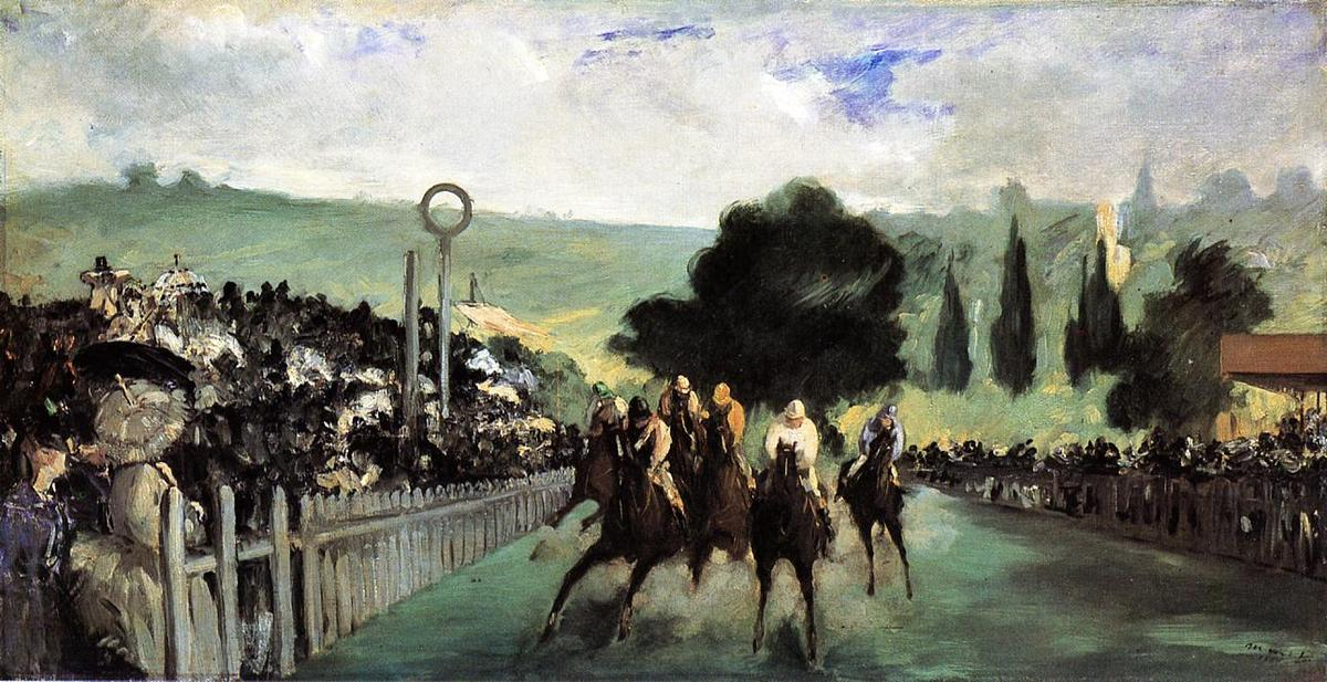 famous painting Races at Longchamp of Edouard Manet