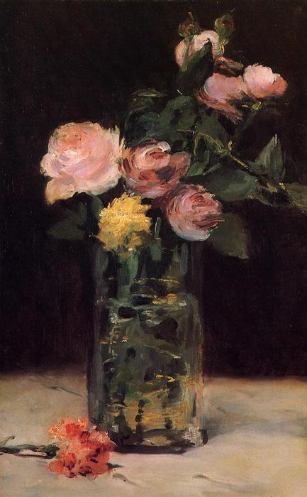 famous painting Roses in a Glass Vase of Edouard Manet