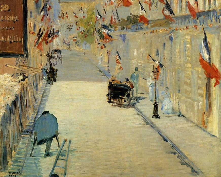 famous painting Rue Mosnier Decorated with Flags, with a Man on Crutches of Edouard Manet