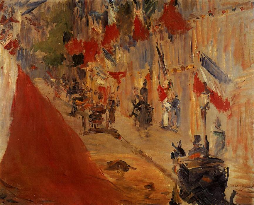 famous painting Rue Mosnier decorated with Flags of Edouard Manet