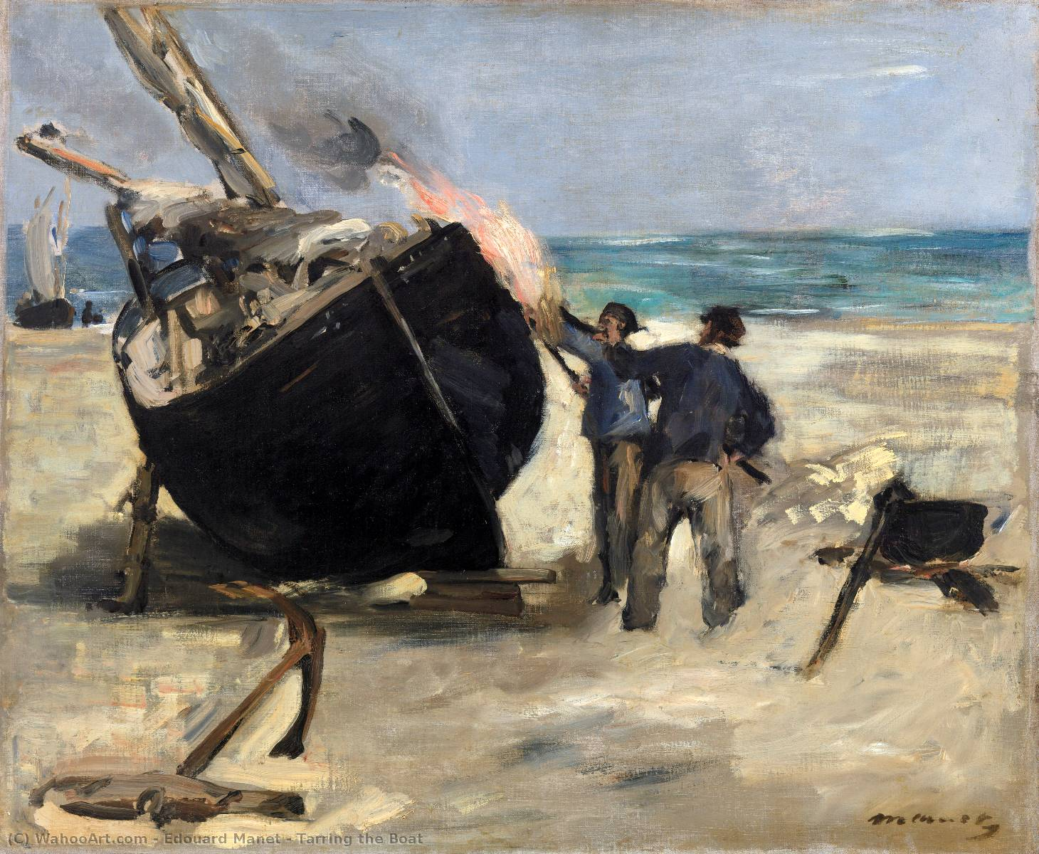 famous painting Tarring the Boat of Edouard Manet