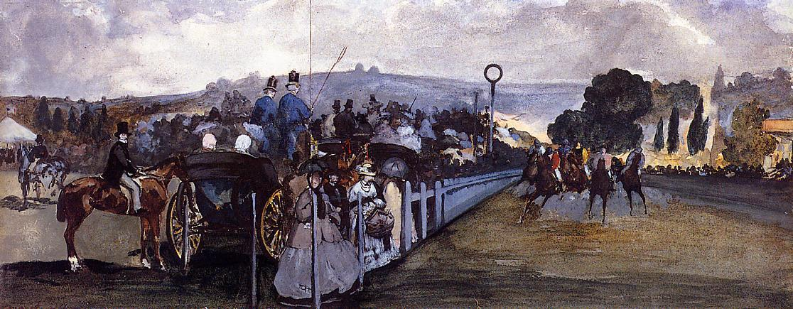 famous painting The Races at Longchamp of Edouard Manet