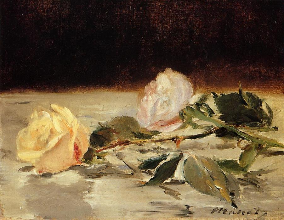 famous painting Two roses on a tablecloth of Edouard Manet