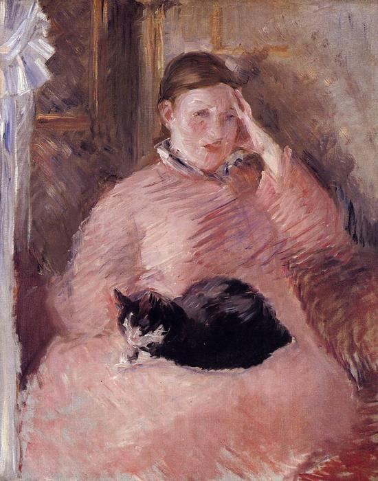 famous painting Woman with a Cat, Portrait of Madame Manet of Edouard Manet
