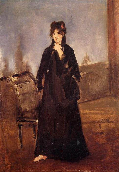 famous painting Young Woman with a Pink Shoe (aka Portrait of Bertne Morisot) of Edouard Manet