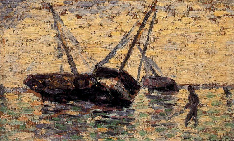 famous painting Beached Boats, Grandcamp of Georges Pierre Seurat