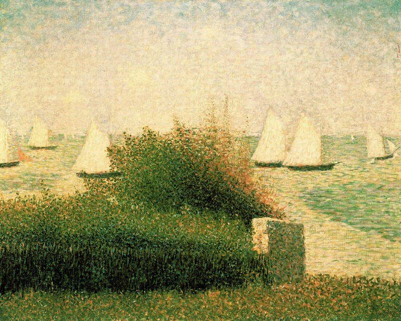famous painting Boats Riding at Anchor, Grandcamp of Georges Pierre Seurat