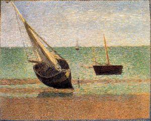 Georges Pierre Seurat - Boats, Low Tide, Grandcamp