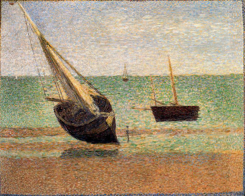 famous painting Boats, Low Tide, Grandcamp of Georges Pierre Seurat