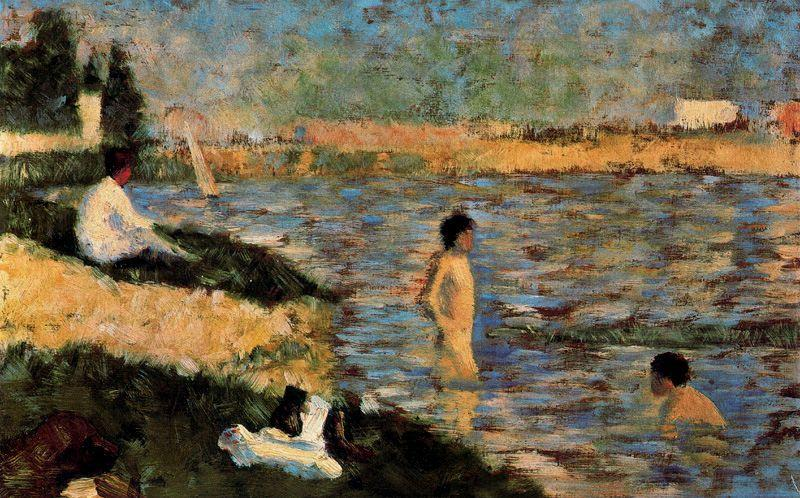 famous painting Boys Bathing of Georges Pierre Seurat