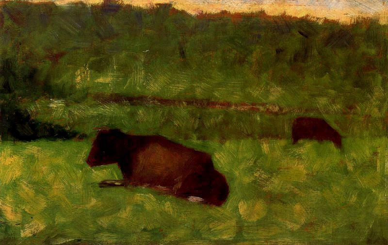 famous painting Cows in a Field of Georges Pierre Seurat