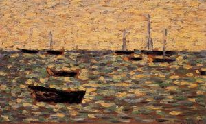 Georges Pierre Seurat - Fishing Boats and Barges, High Tide, Grandcamp