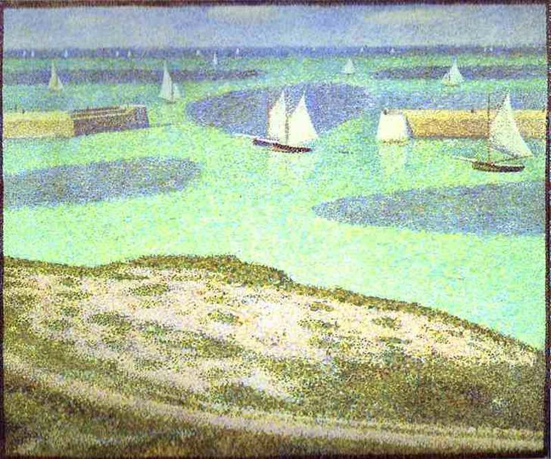 famous painting Fishing Fleet at Port-en-Bessin of Georges Pierre Seurat